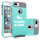 For iPhone X 6 6s 7 Plus 8 Dual Shockproof Hard Case I'd Rather Be Riding Horse