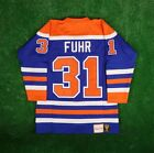 1986 87 Grant Fuhr Edmonton Oilers Mitchell  Ness Blue Authentic Jersey