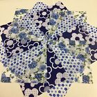 12 blue floral crafting quilting patchwork squares poly cotton (RH367)