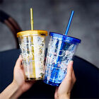 Fashion BlingBling Summer Straw Cup 450ml Double Plastic Cup Water Bottle New