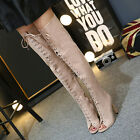 Womens Sexy Ladies High Heels Over the Knee High Boots Lace Up Club Long Boots