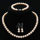 s135 NEW a sets 8-9mm white black freshwter pearl necklace bracelets earrings