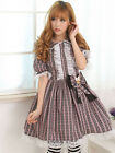 Sweet Chocolate Cross Printed Short Sleeves cute Lace Polyester Lolita Dress