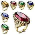 Vintage Oval Cut Large Gemstone Class Rings 316L Stainless Steel Statement 8-12