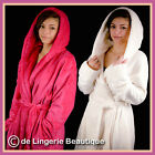 Ladies soft fleece dressing gown/robe/wrap, Cream and Pink, Size 8-20