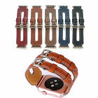 Double Metal Buckle Genuine Leather Band Strap Cuff  for Apple Watch iwatch