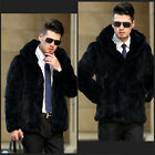 Men's 100% Real Rabbit Fur Black Coat/Jacket Xmas Style Hoodie Outwear Warm