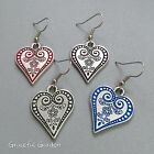 ER3058 Graceful Garden Antique Silver Tone Tribal Pattern Heart Charm Earrings