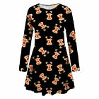 New Womens Reindeer Santa Print Flared Christmas Gift Party Mini Swing Dress