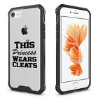 For iPhone Clear Shockproof Case Princess Wears Cleats Softball Soccer Lacrosse
