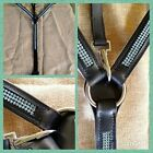 Breastplate 5 five point martingale black leather crystals bling turquoise pink