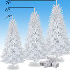5/6/7FT WHITE ARTIFICIAL COLORADO CHRISTMAS BUSHY PINE XMAS TREE METAL STAND NEW