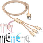 3 in 1 USB Charge Sync Data Cable Cord Micro + 8 Pin + Type-C For iPhone Samsung