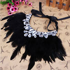 Fashion Crystal Rhinestone Feather Ribbon Necklaces Jewelry Ladies Accessories