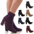 LADIES WOMENS ANKLE BOOTS STRETCH HIGH BLOCK HEEL POINTY CASUAL SHOES SIZE
