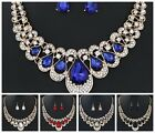 Teardrop Beads Rhinestone Crystal Necklace Earring Jewelry Set Wedding Bridal