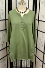 NWT Prairie Cotton Jersey 3/4 Sleeve Split Tunic in Thyme Small -1X style#8766