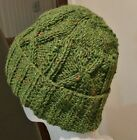 NEW ! HandKnit in Ireland Aran Cable Patterned Beanie Hat100% Donegal Tweed wool