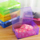 1/5/10X Plastic Home Shoe Boot Box Foldable Storage Organizer Clear Candy Colour