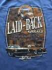 QLAID-BACK GARAGE FORD MUSTANG,THUNDERBIRD BACK ROADSTER ON FRONT CREST T-SHIRT