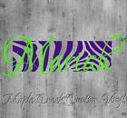 Zebra Background w/ Name Decal ~ 20 Colors Available ~ 6 inches long