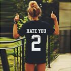 Unisex Estate HATE YOU 2 Lettere Stampato T-shirt Divertenti Top Lovers
