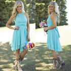 Sky Blue Country Bridesmaid Dresses Short Maid Of Honor Cocktail Prom Gown WD224