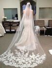 White 3 Meters Long Wedding Veils Bridal Accessories Tulle Lace Appliques