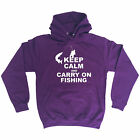 Keep Calm And Carry On Fishing HOODIE hoody Fish Bait Top Funny birthday gift