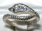 Fabulous Solid Sterling Silver Natural Tanzanite & Sapphire Detailed Snake Ring