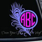 Peacock Feather w Monogram Decal ~ 20 Colors Available ~ 5 inch tall