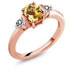925 Rose Gold Plated Silver Diamond Ring Set with Honey T...