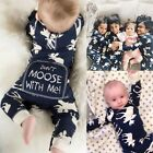 Christmas Newborn Baby Boy Girl Moose Romper Bodysuit One-pieces Outfits Clothes