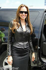 New Celebrity Angelina Julie Lambskin Leather Biker Jacket For Women W- 671