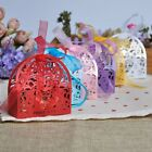 50pcs/lot Hollow Out Love Heart Laser Cut  Candy Gift Boxes Bag With Ribbon