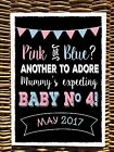 chalk style PINK OR BLUE BABY NUMBER 4 Pregnancy Announcement print photo prop