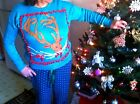 Ugly Xmas Sweater Costume Christmas USA Ship Lot gift blue Vintage Knit Party