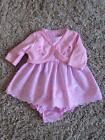 BABY GIRLS BEAUTIFUL 3 PIECE PINK DRESS, PANTS & CARDIGAN SET 0-3 3-6 6-9