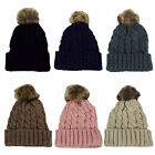 Ladies Chunky Knit Pom Pom Bobble Hat - 60711