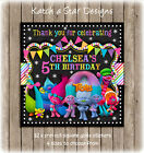 TROLLS BIRTHDAY PARTY PERSONALISED SQUARE GLOSS PARTY STICKERS X 12