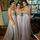 Cap Sleeve Gray Long Bridesmaid Party Dresses Maid Of The Bride Prom Gowns WD101