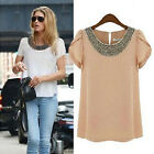 Round Neck Women Ladies short Sleeve Casual Loose T shirt Tops Blouse Ladies ❤