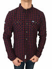 Mens Size XL Superdry GrindleSawn L/S Cotton Shirt in Navy Grindle