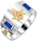 Custom Birthstone 0.925 Sterling Silver Men's Masonic Blue Lodge Solid Back Ring