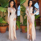 Women Gold Sequin Long V neck Evening Dress Long Sleeve Dresses Plus Size