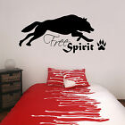 Free Spirit with Wolf and Paw Print Vinyl Wall Sticker Decal Teenagers Bedroom