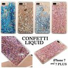 For iPhone 7 & 7+ Plus - HARD PC Diamond Confetti Flowing Liquid Waterfall Case