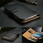 Luxury Genuine Real Leather Flip Case Wallet Cover For HTC One & Desire Models