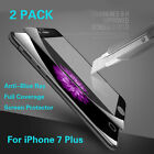 2x For iPhone 7 Plus Anti Blue-Ray 3D Full Cover Tempered Glass Screen Protector