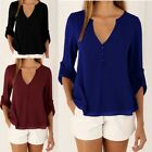 Women's Lady Loose Chiffon  Long Sleeve Casual Blouse Shirt Tops Fashion Blouses